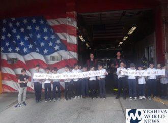 Alumnos de Ieshivá de tercer grado agradecen a los bomberos por su heroísmo