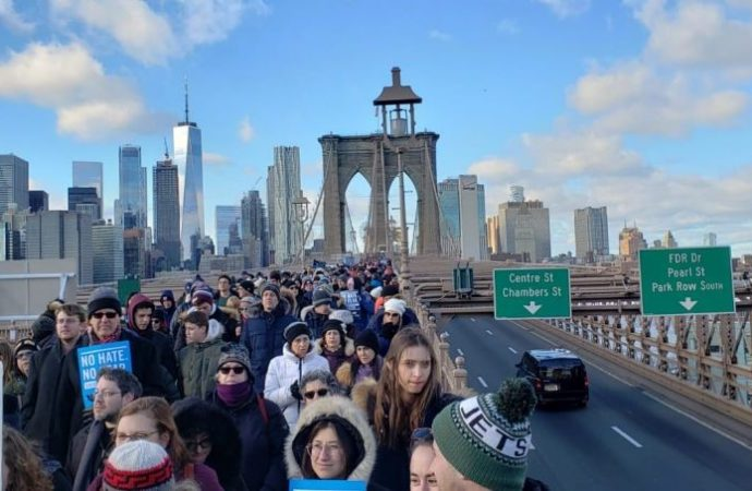 Marcha solidaria contra el antisemitismo en Nueva York