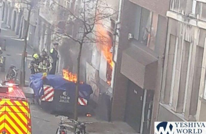 Incendio en el edificio de la Kehilá Majzikei Hadat en Amberes