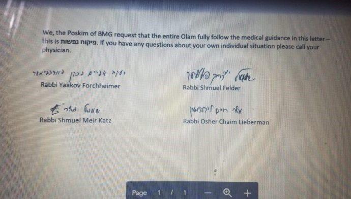 Kol Koreh de todos los poskim de Lakewood y 6 médicos