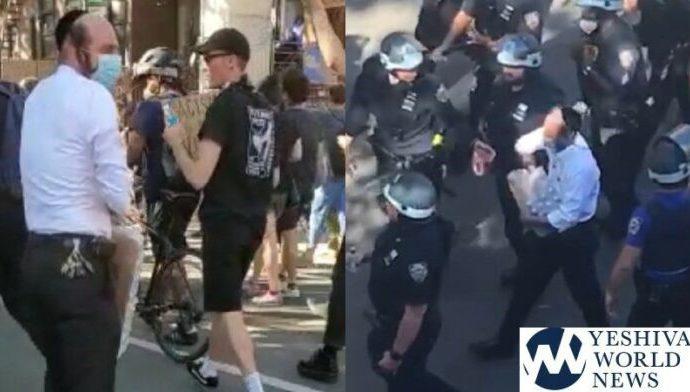 Un hombre jasídico de Williamsburg da cientos de botellas de agua a policías de Nueva York y manifestantes