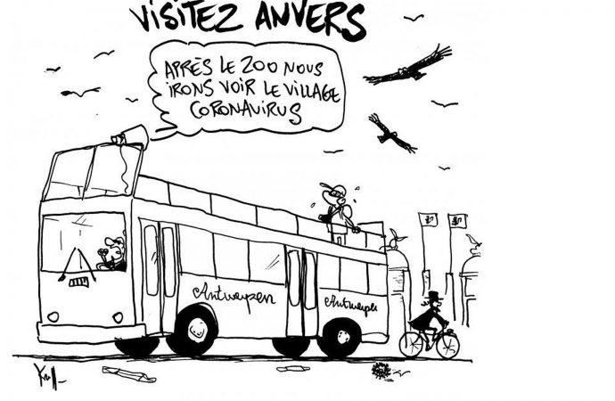 """Un diario belga publica una caricatura que etiqueta el barrio judío como """"Pueblo del Coronavirus"""""""