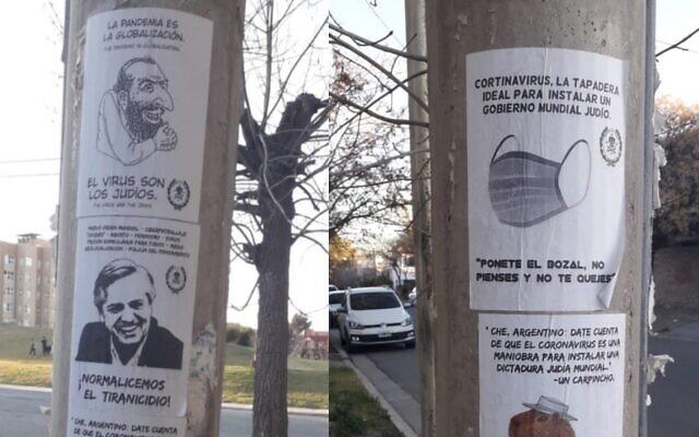 """Argentina: Carteles de """"Los judíos son el coronavirus"""" colgados en áreas públicas"""