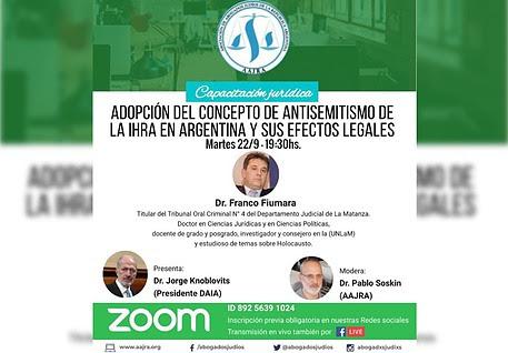 Capacitación Jurídica: Adopción del concepto de antisemitismo de la IHRA en Argentina y sus efectos legales
