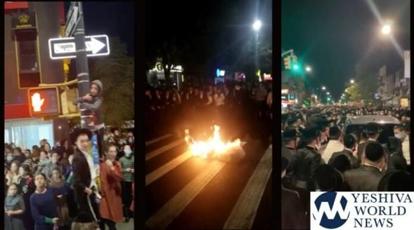 Ver videos: Cientos cierran la calle y protestan contra los cierres de sinagogas en Borough Park