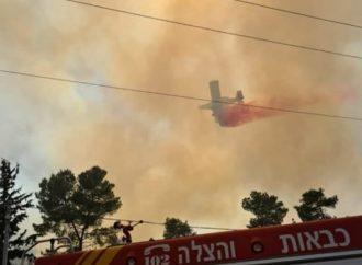 12 aviones luchan contra incendios forestales fuera de control cerca de Beitar Illit