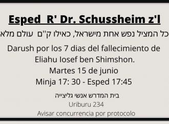 Conmemoración Dr. Eliahu Yosef Schussheim