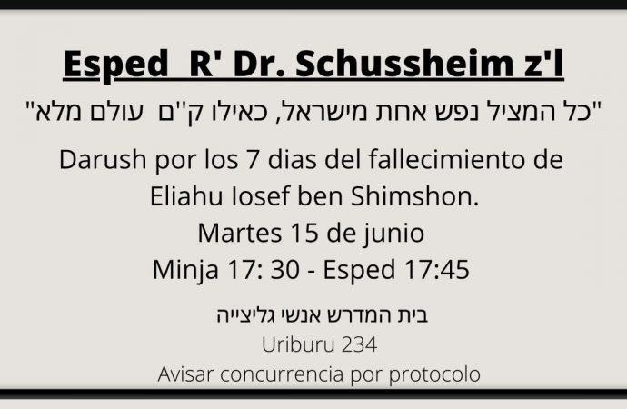 Conmemoración Dr. Eliahu Yosef Schussheim z'l